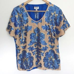 NWT Tracy Reese for Target blue sequin blouse top